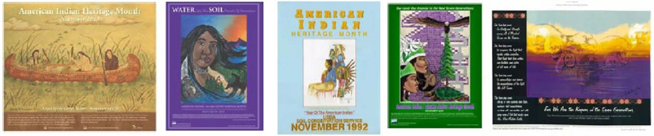 Various posters from Native American Heritage Month