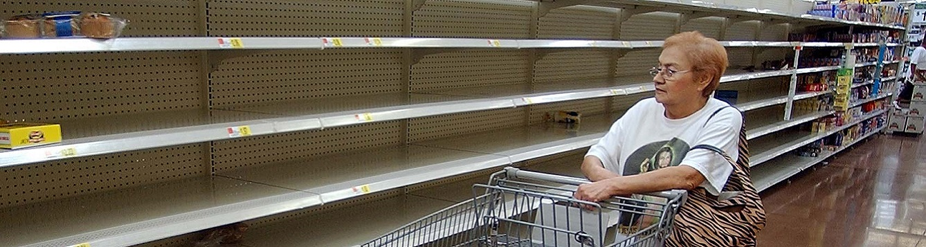 A shopper finds the shelves virtually empty.