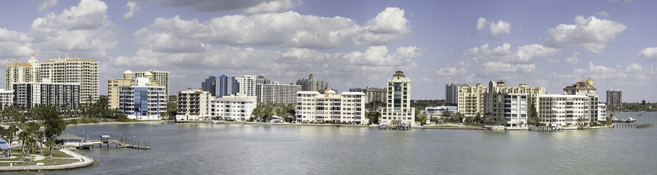 panoramic view of sarasota downtown waterfront