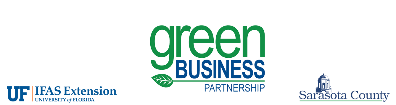 green business partnership banner, with uf/ifas and sarasota county logos