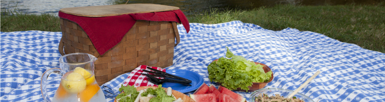 waterside picnic setting