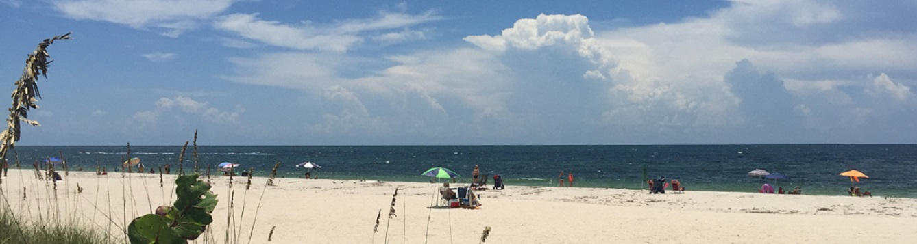 People enjoying Nokomis Beach in Sarasota County.