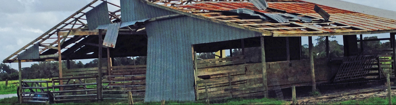 A Sarasota County barn shows severe damage from a recent storm