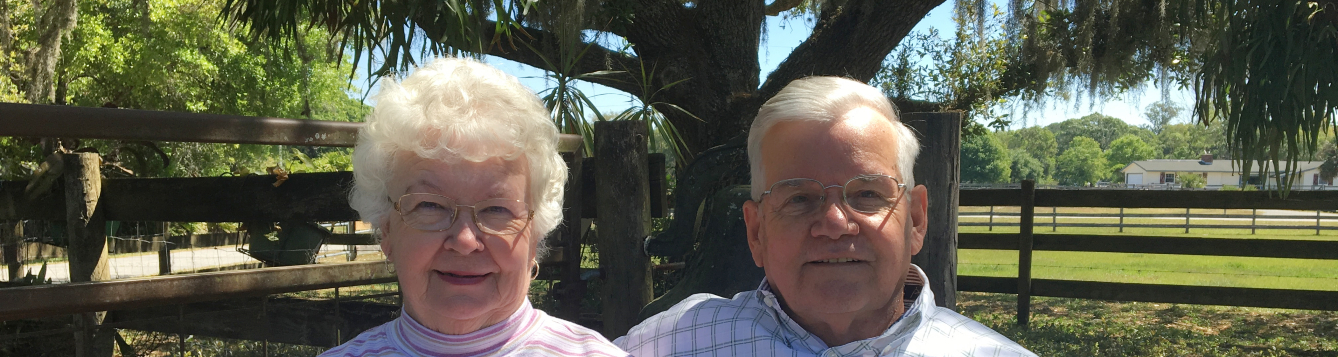 Marlene and Don Strickland sit for a photo