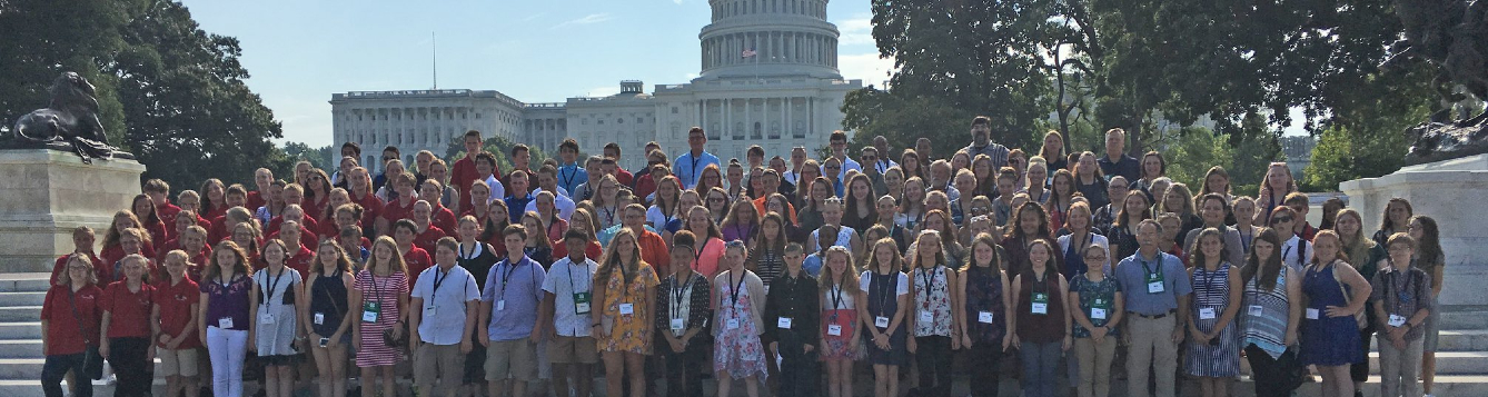 4-H youth (and agents) pause for a group photo in front of the Capitol in Washington, D.C., during the 2018 Leadership Washington Focus event.
