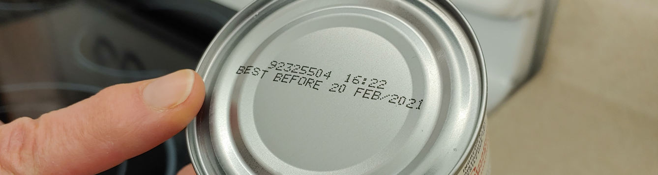 "food can with the ""best before"" product date shown on the top"
