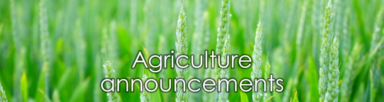 "illustrative banner, with ""Agriculture announcements"" text in front of image of wheat field"