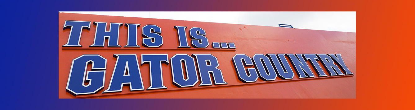 """university of florida football stadium sign saying, """"This is Gator Country"""""""