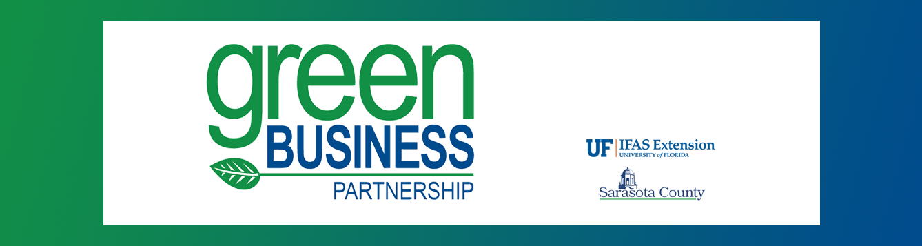 Green Business Partnership logo, with UF/IFAS Extension and Sarasota County Government logos