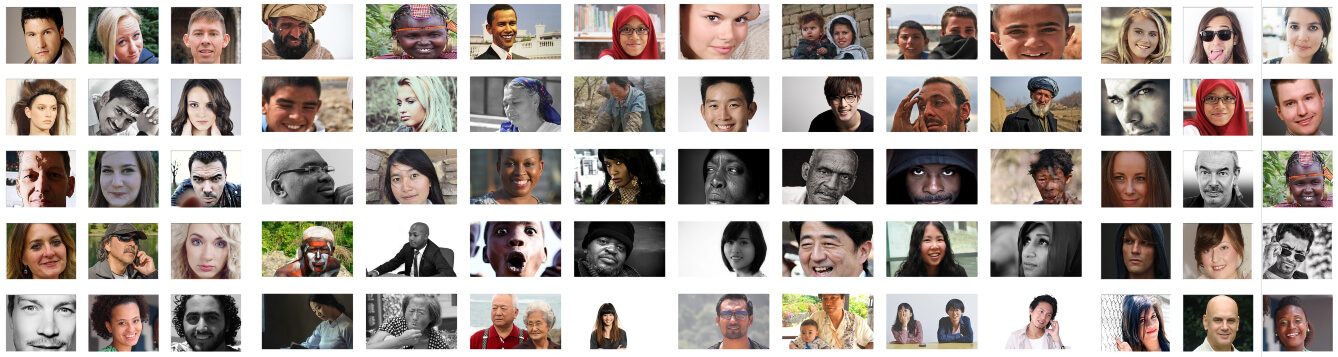 photo illustration/montage of various people as seen in rows of slides/images on a wall