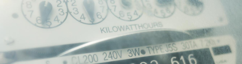 closeup of an electricity utility meter