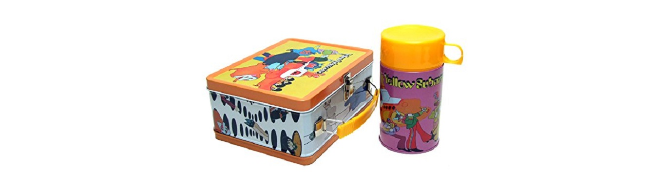 a vintage beatles' yellow submarine lunchbox with thermos