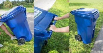 montage of blue-colored, single-stream recycling cart in use