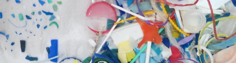 plastic debris found on a beach