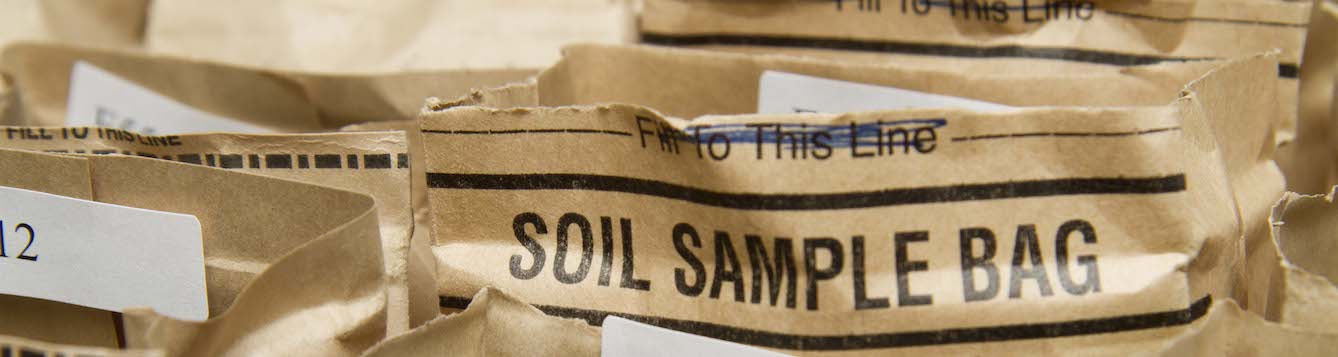 Bags of soil samples at the UF/IFAS soil testing lab
