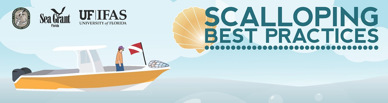 A boat and the text Scalloping Best Practices