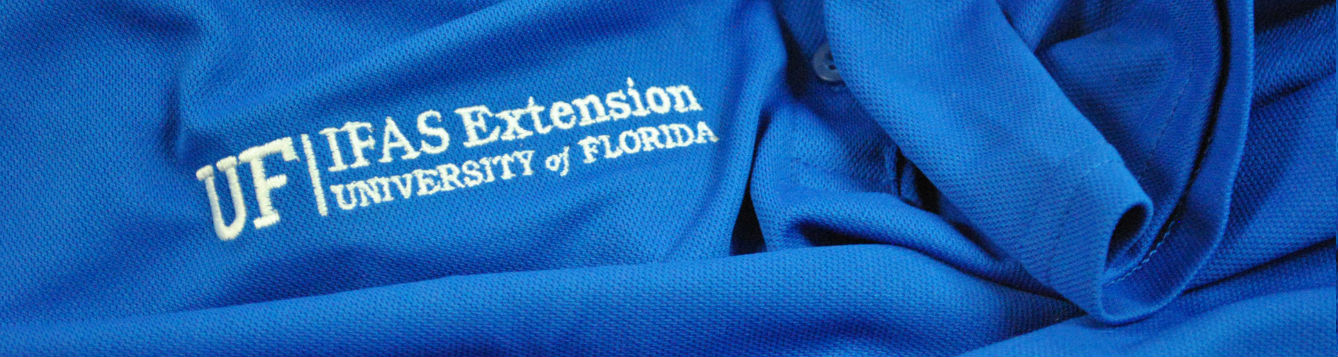 blue shirt with UF/IFAS Extension logo
