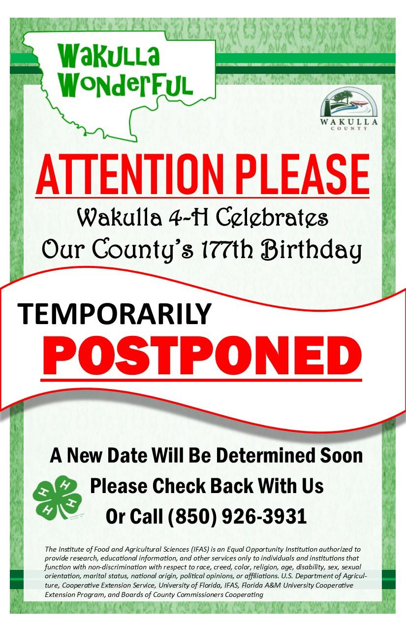 Wakulla Wonderful 177th Invite Postponed