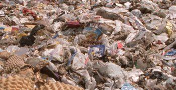 close-up of a landfill